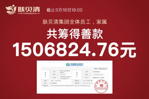 肤贝清:响应国家号召,全体员工、家人近2500人捐款160万支援武汉抗疫